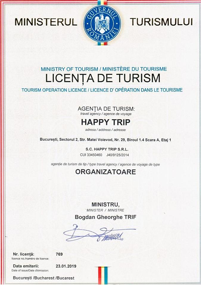 Licenta de turism Happy Trip